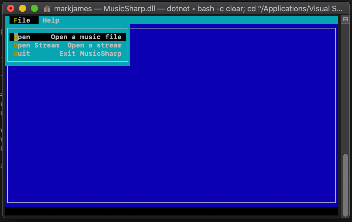 MusicSharp first build running on macOS Catalina